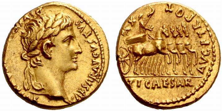 Pièce dor romaine - Aureus dAuguste. Source Sacra-moneta.com - Photo Numismatica Ars Classica