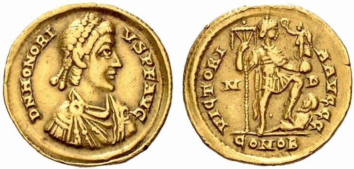 Honorius, 393-423 après JC. Solidus (or, 4.47 grammes) frappé en 395-402 après JC, à Mediolanum (Milan).