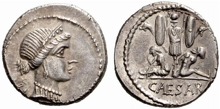 Jules César. Denier frappé en Espagne vers 46-45 avant JC, argent, 3.97 grammes.
