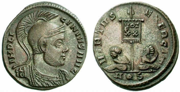 Licinius I, 308–324 après JC. Follis réduit, frappé à Aquilée en 320 après JC, bronze, 2,92 grammes, diamètre : 19 mm.