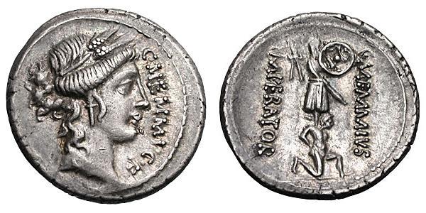C. Memmius C.f. Denier d'argent (3.96 grammes). Frappé à Rome en 56 avant JC.