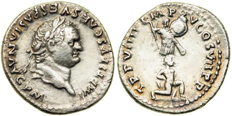 Titus, 79-81 après JC. Denier d'argent. A/ Tête laurée de Titus tournée à droite R/ Un captif agenouillé tourné à droite.