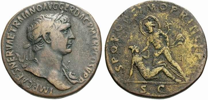 MONNAIE 2. - Sesterce de l'Empereur Trajan (98-117 après JC). Poids de la monnaie : 25,62 grammes. Diamètre de la monnaie : 35 mm. Avers de la monnaie : Buste de Trajan. Revers de la monnaie : SPQR OPTIMO PRINCIPI / SC Le Danube en train de maîtriser un Dace.