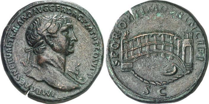 Sesterce de l'Empereur Trajan (98-117 après JC). Poids de la monnaie : 26.44 grammes. Avers de la Monnaie : IMP CAES NERVAE TRAIANO AVG GER DAC P M TR P COS V P P Buste lauré de Trajan tournée à droite, portant l'Egide. Revers de la monnaie : S P Q R OPTIMO PRINCIPI S C Vue du Pont Sublicius in Rome souvent confondu avec le pont sur le Danube que fit construire Trajan en 101.
