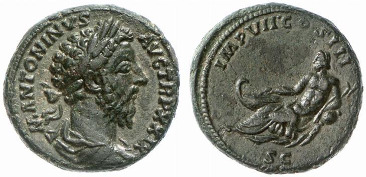 As de l'Empereur Marc Aurèle (161-180 après JC). Monnaie frappée en 175 après JC. Le revers de la monnaie présente la personnification du Danube.