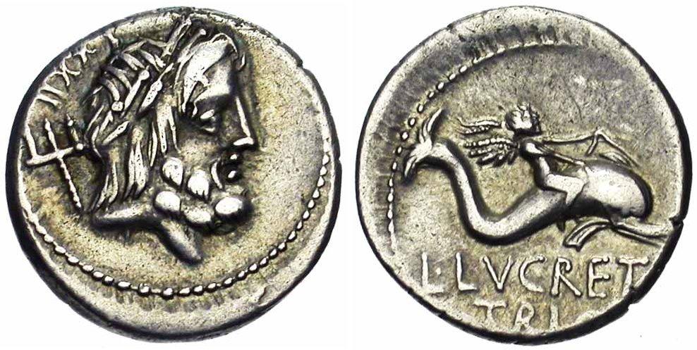 Exemple de représentation d'un dauphin sur une monnaie de la République Romaine