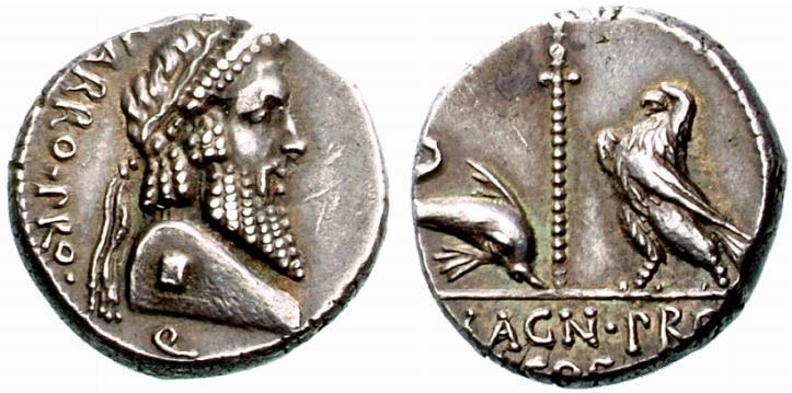 Exemple de représentation d'un dauphin sur une monnaie de Pompée
