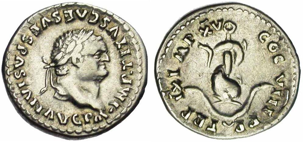 Exemple de représentation d'un dauphin sur une monnaie romaine de Titus