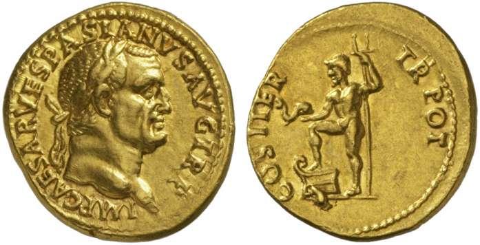 Exemple de représentation d'un dauphin sur une monnaie romaine de Vespasien