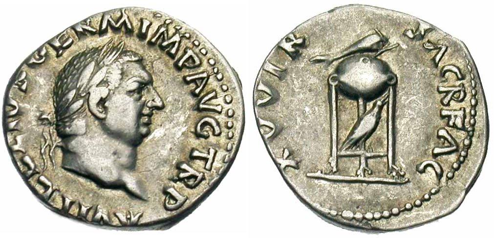 Exemple de représentation d'un dauphin sur une monnaie romaine de Vitellius