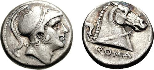 La première monnaie romaine d'argent est un didrachme comparable à cette monnaie frappée à Rome entre 241-235 avant JC