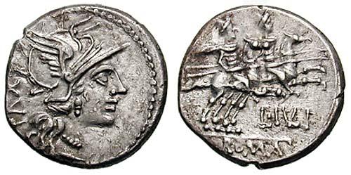 Denier de L. Julius, 141 avant JC. 3,79 grammes