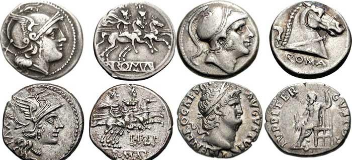 Exemples de deniers romains. Le denier est une des pièces de monnaie romaine les plus célèbres