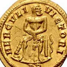 Hercule assis sur des rochers avec sa massue et la peau du lion de Nemée (monnaie de Maximien)