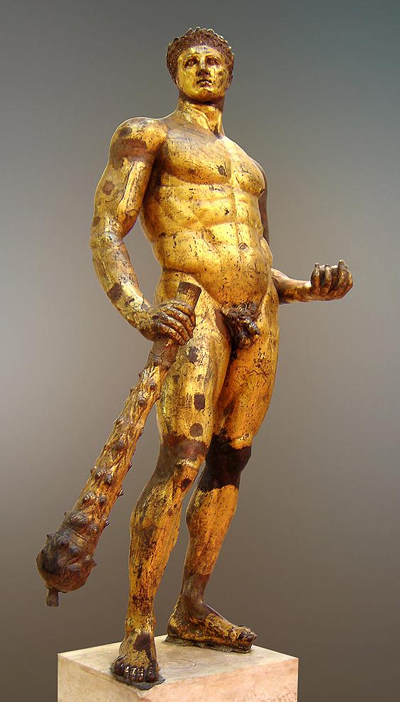Statue d'Hercule. Bronze doré, œuvre romaine, IIe siècle av. J.-C. Découverte au Forum Boarium au XVe siècle