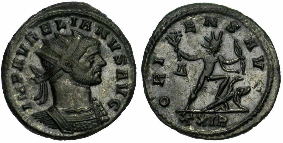Monnaie de l'Empereur Aurelien (270-275 après JC), antoninien de billon
