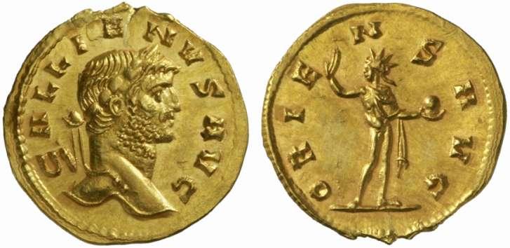 Monnaie de l'Empereur Gallien (empereur de 253 à 268 après JC). Quinaire d'or