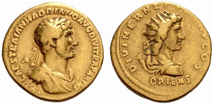 Monnaie de l'Empereur Hadrien (117-138 après JC).