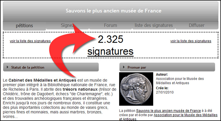 Des centaines de signatures ont été recueillies pour sauver le musée des monnaies de la bibliothèque Nationale de France