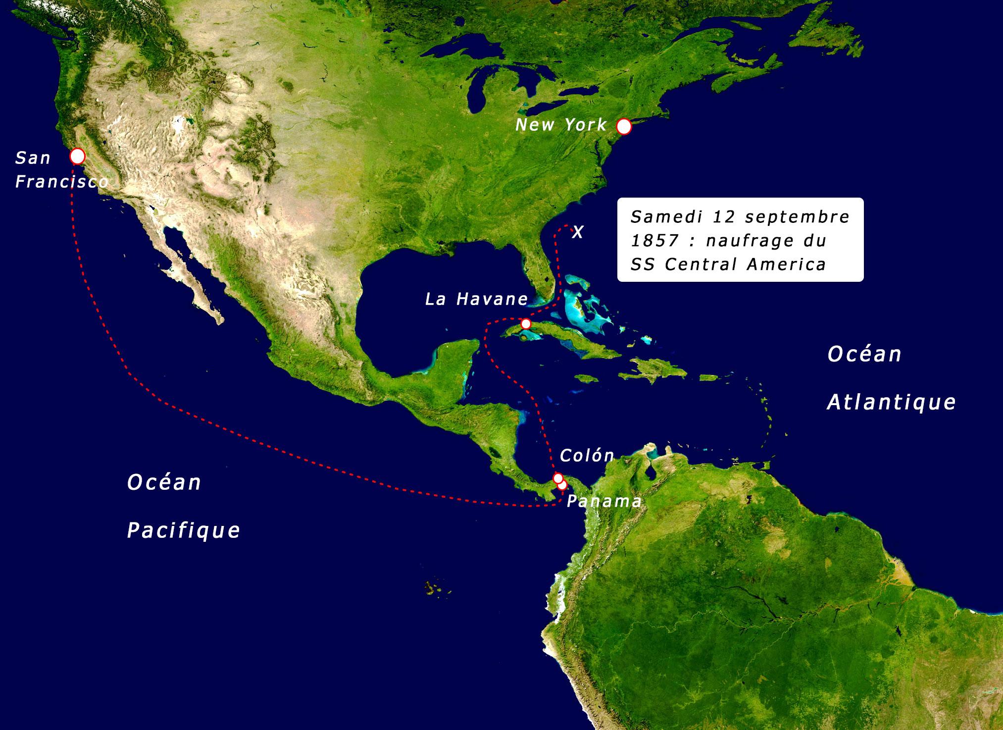 Carte : le naufrage du SS Central America