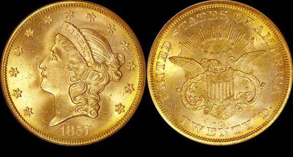 """Pièce d'or de 20 dollars US dite """"double Aigle"""" portant la marque S de l'atelier monétaire de San Francisco"""