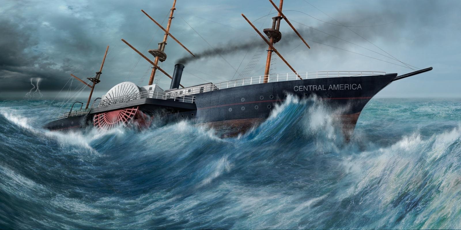 Peinture reconstituant le SS Central America au coeur de la tempête
