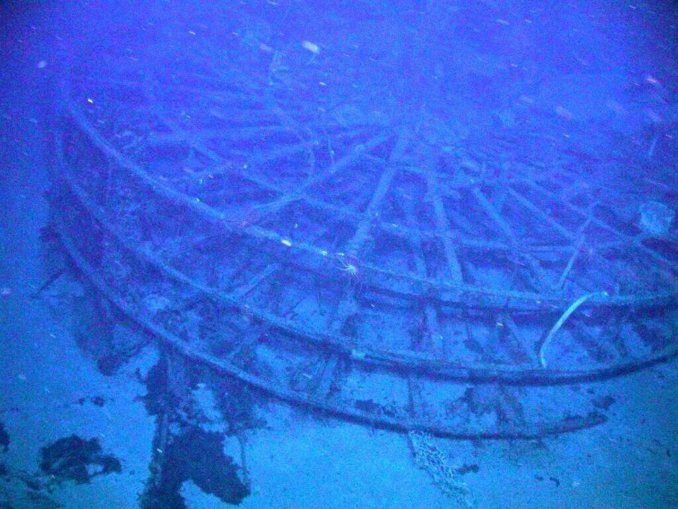 Photo d'une roue à aube métallique du SS Central America