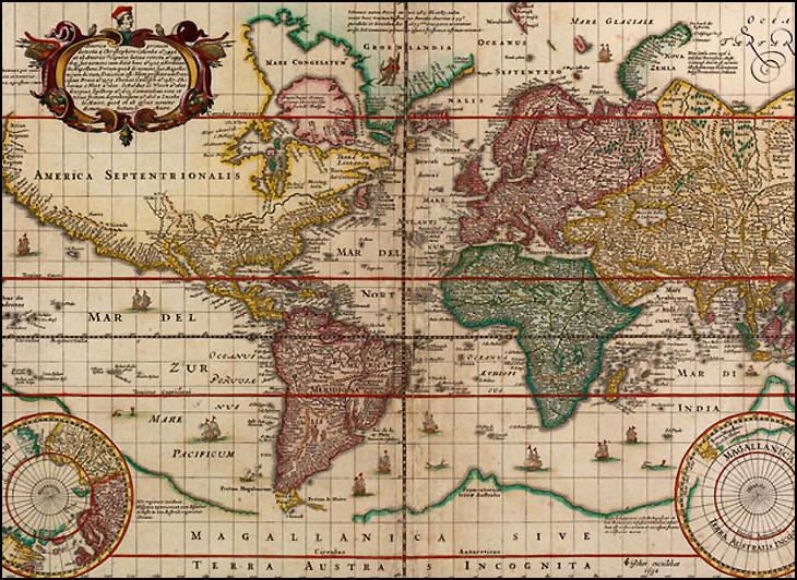 Carte espagnole du monde datée de 1652