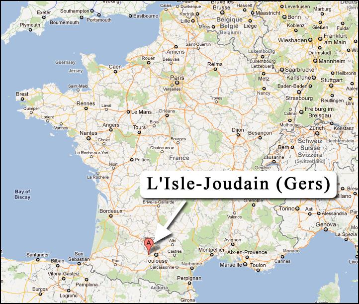 Carte de localisation de l'Isle-Jourdain où a été découvert un trésor de monnaies romaines