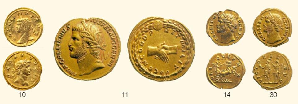 Quelques pièces d'or du Trésor de Lava