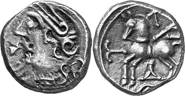 Exemple de quinaire Keletedou frappé par les Lingons dans la région de Langres, qui composent le trésor