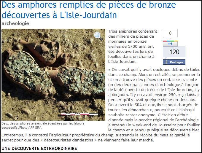 Trésor de monnaies romaines de l'Isle-Jourdain : photos du trésor sur le site de La Dépêche
