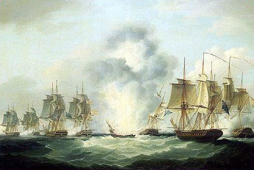 Tableau de la bataille du Cap Santa Maria (5 octobre 1804) au cours de laquelle la Nuestra Señora de las Mercedes a été coulé