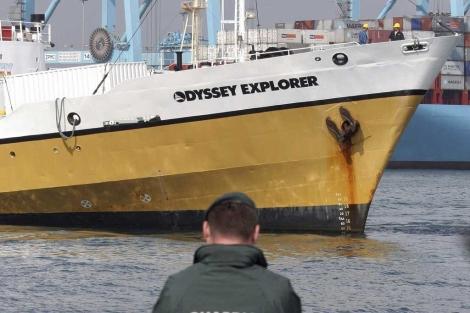 Photo de l'Odyssey Explorer, bateau qui a récupéré le trésor en douce en 2007 au large des côtes de l'Espagne et du Portugal