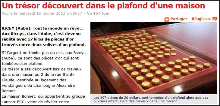 Capture d'écran du site l'Ardennais présentant le trésor de Ricey