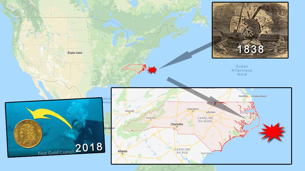 Carte de localisation de l'épave du bateau à vapeur Pulaski, coulé en 1838. Des pièces d'or provenant de l'épave ont été découvertes par des plongeurs en janvier 2018