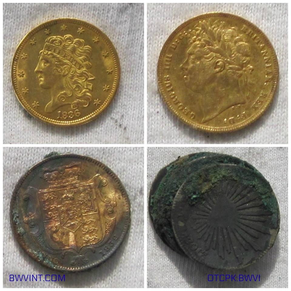 Photo d'une partie des pièces provenant de l'épave du Pulaski