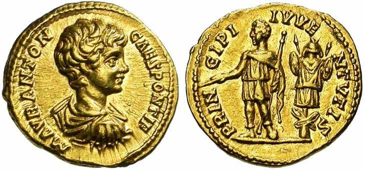 Aureus de Caracalla revers Caracalla face à un trophée