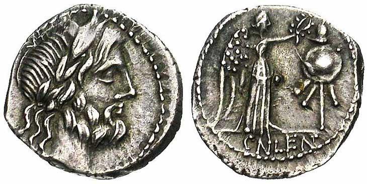 Quinaire de la république romaine revers trophée