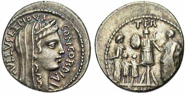 Denier de la république romaine revers trophée