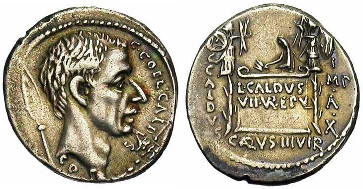 Denier de la république romaine trophée et bouclier