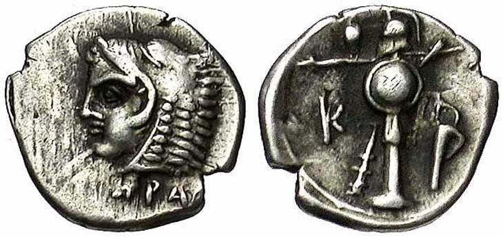 Monnaie grecque d'Heraclée du Pont revers trophée