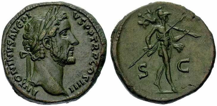 Sesterce d'Antonin le Pieux revers Mars tenant un trophée