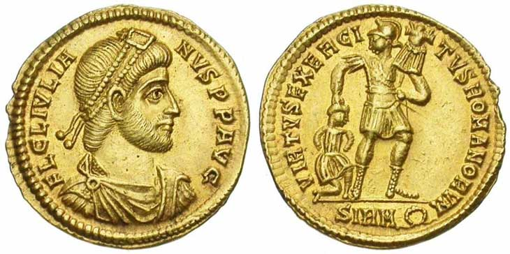 Solidus de Julien II revers soldat tenant un trophée