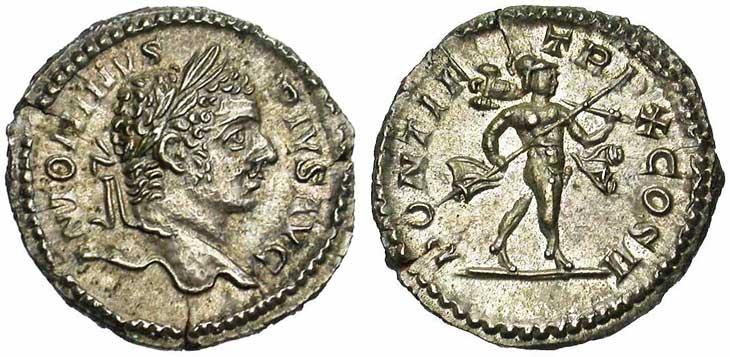 Denier de Caracalla revers Mars tenant un trophée