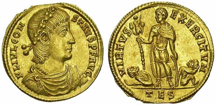 Solidus de Constant revers l'empereur tenant un trophée