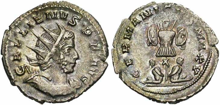 Antoninien de Gallien revers captifs et trophée