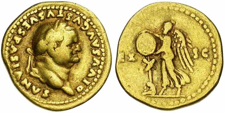 Aureus de Vespasien revers victoire et trophée