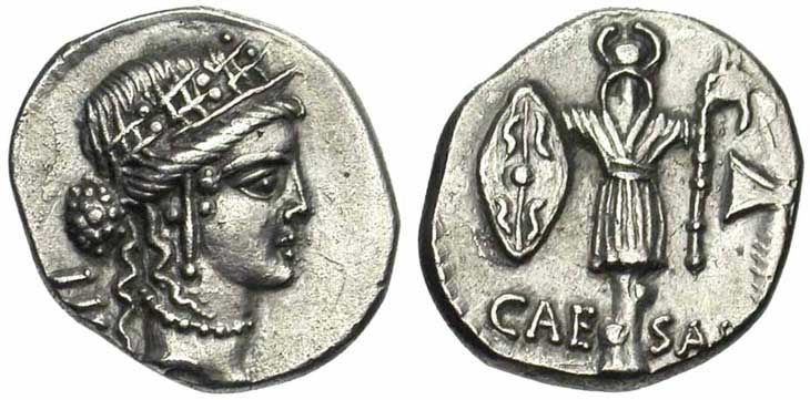 Denier de la république romaine trophée et bouclier gaulois