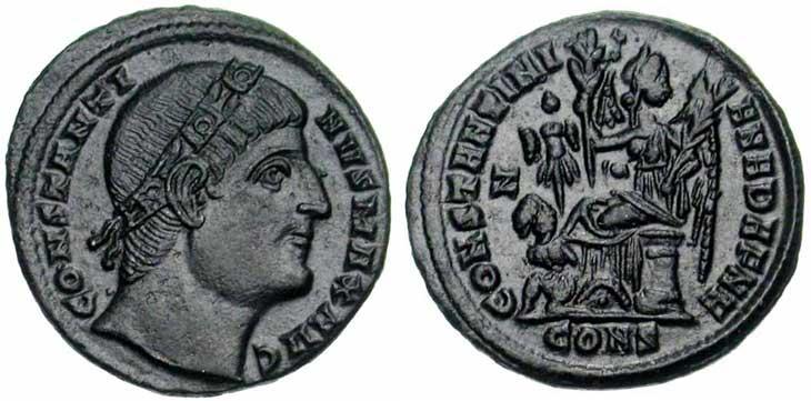 Follis de Constantin Ier revers Victoire, captif et trophée